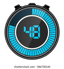 Blue electronic digital stopwatch illustration. Showing 48 seconds.