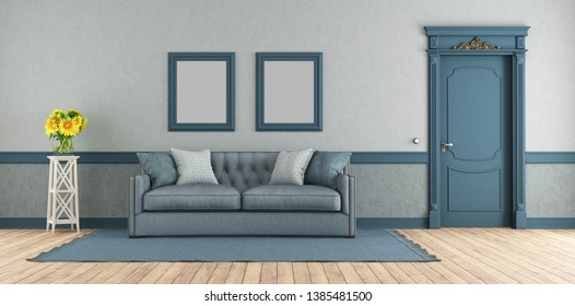 Blue elegant living room with classic sofa and closed door - 3d rendering