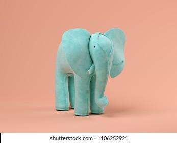 Blue elephant on pink background 3D illustration