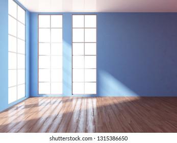 blue empty interior. 3d illustration