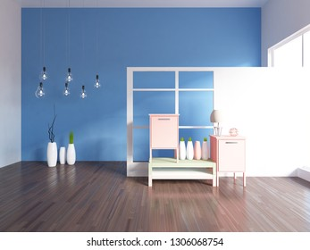 blue empty interior with bedside tables and other decor. 3d illustration