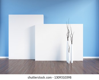blue empty interior with vases. 3d illustration