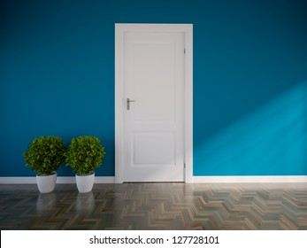 blue empty interior with a white door