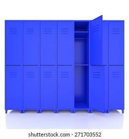 blue empty lockers isolate on white background