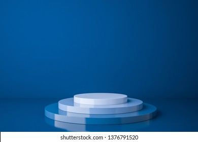 Blue empty product showcase podium over blue background. Concept of marketing and advertising. 3d rendering mock up