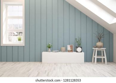 Blue empty room. Scandinavian interior design. 3D illustration