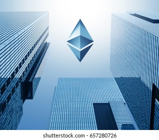 Blue ethereum logo on a sky. cryptocurrency, digital money