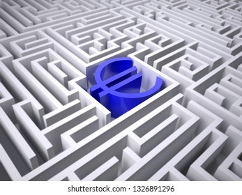 blue euro symbol in the centre of labyrinth, 3d illustration