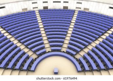 blue european parliament empty room