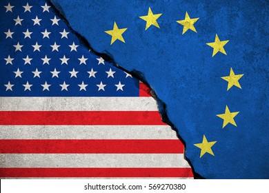 blue european union EU flag on broken wall and half usa united states of america flag, crisis trump president and europe euro concept