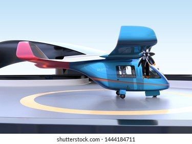 Blue E-VTOL passenger aircraft on airport parking area.Urban Passenger Mobility concept. 3D rendering image.
