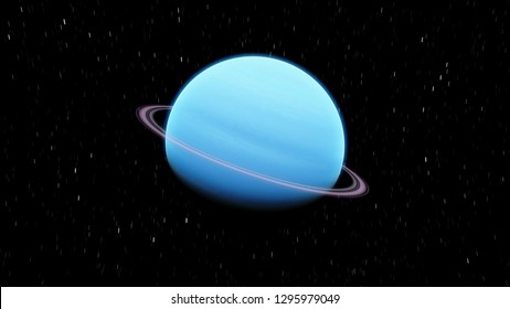 Blue Exoplanet with ring gas giant Planet Neptune 3D illustration (Elements of this image furnished by NASA)