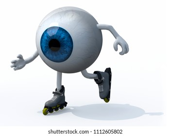 blue eyeball with arms, legs and roller skates on feet, 3d illustration