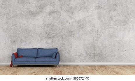 Blue fabric sofa in front of old wall 3d rendering