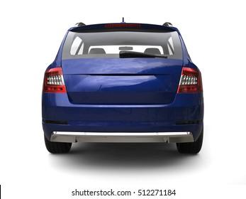 Blue family car - back view - 3D Illustration