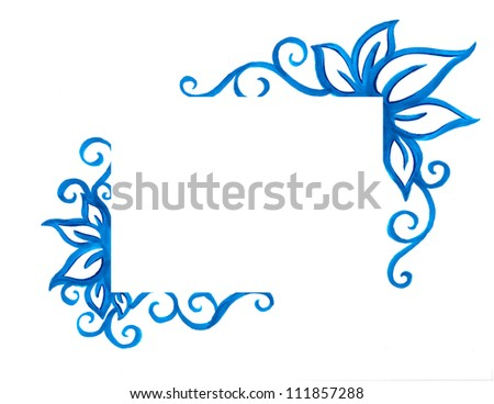 blue fancy floral border decoration with abstract curls and leaves and a blank rectangle box