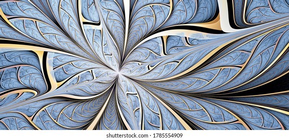 Blaue Fantasie künstlerische Blume. Schöner abstrakter Hintergrund. Fractal-Kunstwerke für kreatives Design.