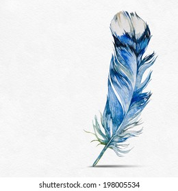 Blue feather pen on a white background. Watercolor picture. Background with place for text.