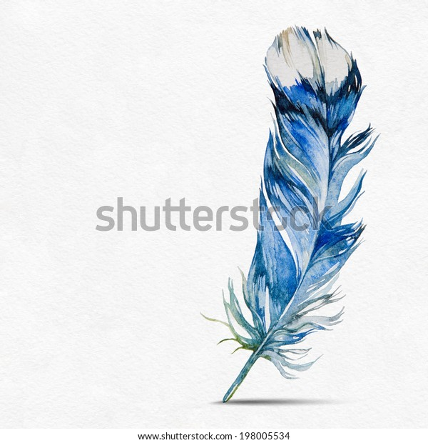 f61c17d12ee03 Blue Feather Pen On White Background Stock Illustration 198005534