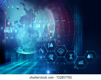 blue financial technology illustration . business icon on map of the earth  represent new generation of business technology