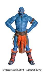 blue fire ogre in white background 3d illustration