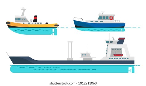 Blue fishing boat, small steamer and large cargo ship with spacious deck on water surface isolated  illustrations set on white background.