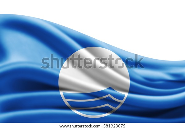 Blue  flag of silk with copyspace for your text or images and white background -3D illustration