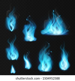 Blue flame. Burning fiery natural gas hot fireplace flames warm fire blazing realistic bonfire effect blue magic flaming set