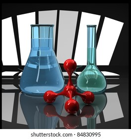 blue flasks and red molecule scientific composition