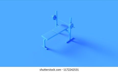 Blue Flat Weight Bench 3d illustration 3d rendering