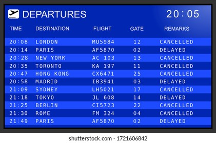 Blue flight information display system in international airport, cancelled and delayed flights