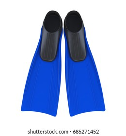 Blue Flippers Isolated. 3D rendering