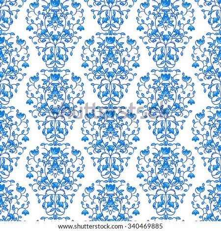 blue floral elegant border damask retro stock illustration 340469885