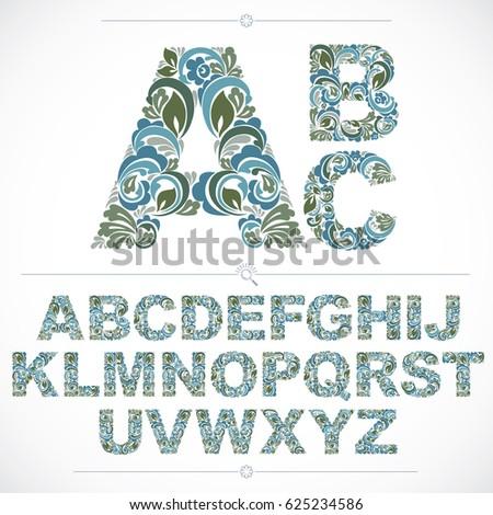 Royalty Free Stock Illustration Of Blue Floral Font Handdrawn