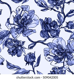 Blue Floral pattern Watercolor background. Hand painting illustration blossom flowers peony.