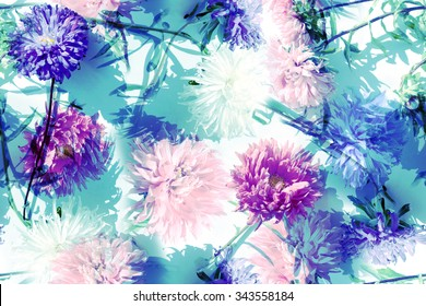 Blue floral vintage pattern. Realistic blossoming astra on blue background. Art effect retro and vintage design with flowers and plants. Soft focus effect.