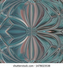 Blue floreal pattern on a silvered background