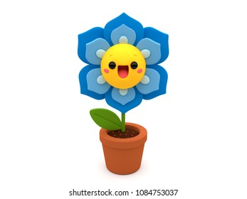 Blue flower 3D cartoon character, cheerfully smiling inside a flowerpot, on an isolated white background.