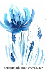 Décoration de fleurs bleues élément décoration à l'aquarelle