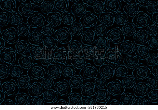 Blue flower petals silhouette, close up roses, beautiful monochrome abstract seamless pattern.