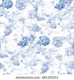 blue flower - seamless pattern