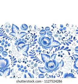 Blue flowers floral russian porcelain beautiful folk ornament illustration. Seamless horizontal background.