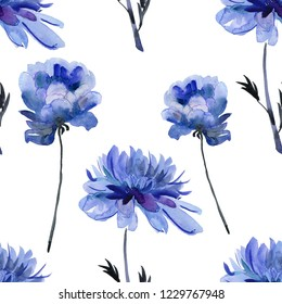 Blue flowers. Hand drawn watercolor botanical  illustration for wedding printing, card, invitation. Japanese style. Vintage watercolor.