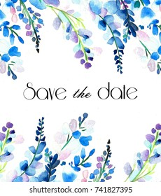 Blue Flowers invitation on white background