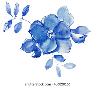 Blue  flowers and leaves,watercolor painting