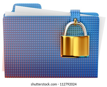 blue folder with golden hinged lock stores important information