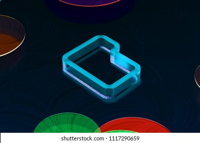 Blue Folder Icon on the Dark Black Background. 3D Illustration of Neon Blue Document, File, Word, Text, Download Icon Set on the Black Oil Background.