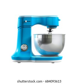 blue food mixer on white background 3d rendering