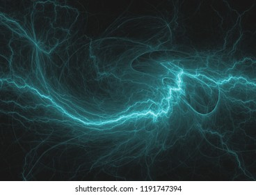 Blue fractal lightning, abstract electrical background