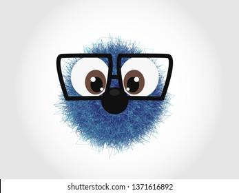 Blue funny hairy monster character - beast - illustration